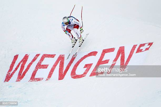 Beat Feuz of Switzerland competes during the Audi FIS Alpine Ski World Cup Men's Downhill on January 16 2016 in Wengen Switzerland
