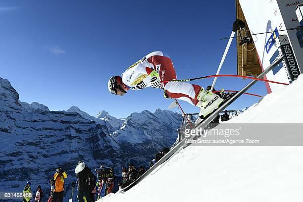 Beat Feuz of Switzerland competes during the Audi FIS Alpine Ski World Cup Men's Downhill Training on January 11 2017 in Wengen Switzerland