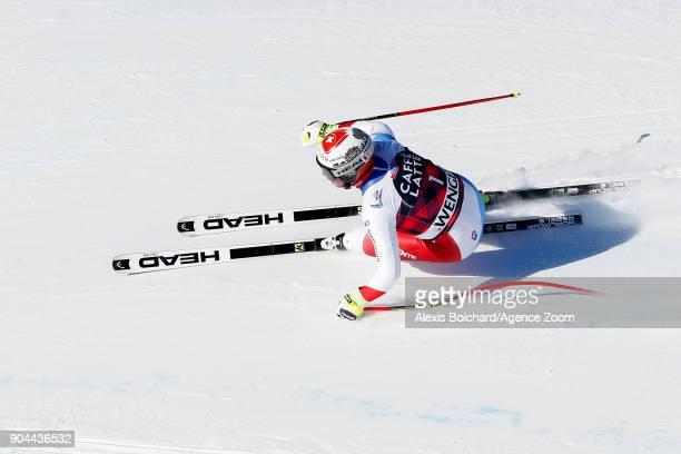 Beat Feuz of Switzerland competes during the Audi FIS Alpine Ski World Cup Men's Downhill on January 13 2018 in Wengen Switzerland
