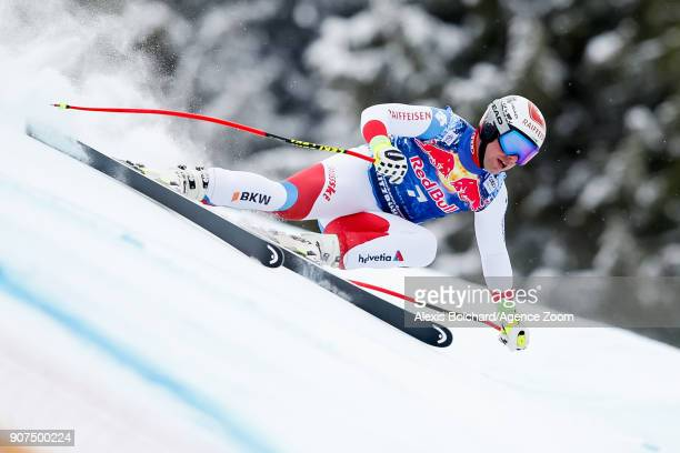 Beat Feuz of Switzerland competes during the Audi FIS Alpine Ski World Cup Men's Downhill on January 20 2018 in Kitzbuehel Austria