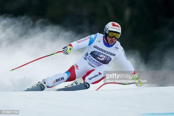 Beat Feuz of Switzerland competes during the Audi FIS Alpine Ski World Cup Men's Downhill on January 27 2018 in GarmischPartenkirchen Germany