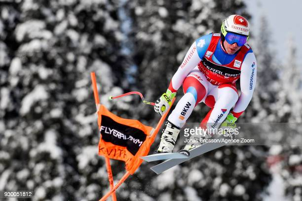 Beat Feuz of Switzerland competes during the Audi FIS Alpine Ski World Cup Men's Downhill on March 10 2018 in Kvitfjell Norway