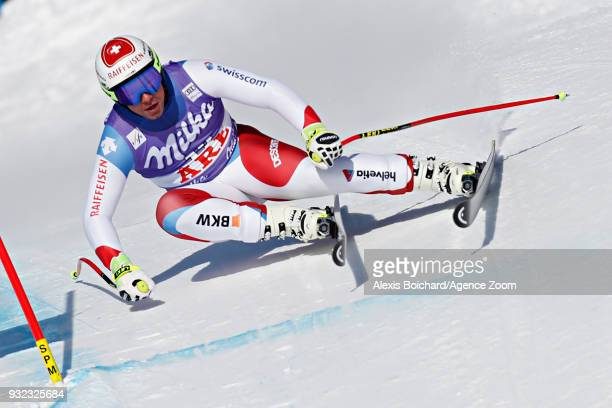 Beat Feuz of Switzerland competes during the Audi FIS Alpine Ski World Cup Finals Men's and Women's Super G on March 15 2018 in Are Sweden