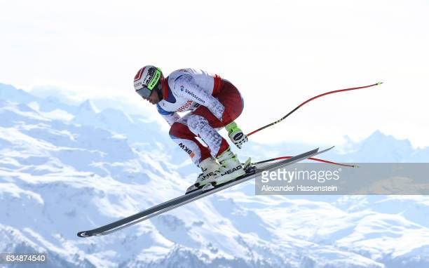 Beat Feuz of Switzerland competes in the Men's Downhill during the FIS Alpine World Ski Championships on February 12 2017 in St Moritz Switzerland