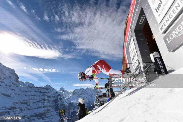 Beat Feuz of Switzerland in action during the Audi FIS Alpine Ski World Cup Men's Downhill Training on January 16 2019 in Wengen Switzerland
