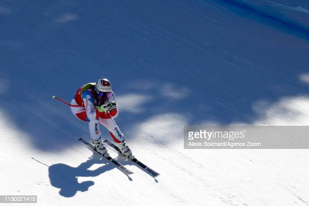 Beat Feuz of Switzerland in action during the Audi FIS Alpine Ski World Cup Men's and Women's Downhill Training on March 12, 2019 in Soldeu Andorra.