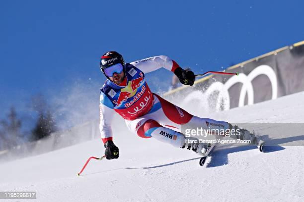Beat Feuz of Switzerland in action during the Audi FIS Alpine Ski World Cup Men's Downhill Training on January 22, 2020 in Kitzbuehel Austria.