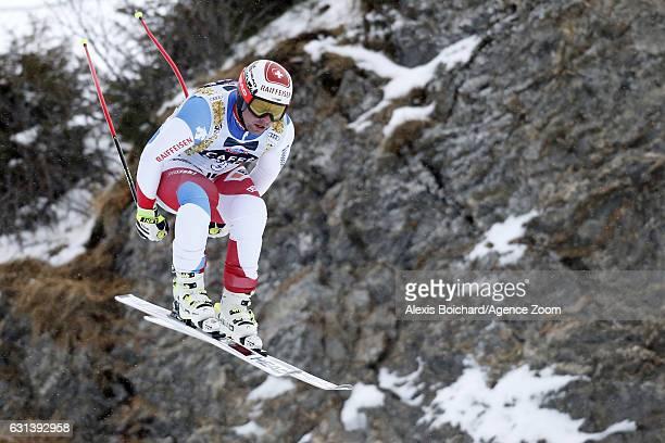 Beat Feuz of Switzerland in action during the Audi FIS Alpine Ski World Cup Men's Downhill Training on January 10 2017 in Wengen Switzerland