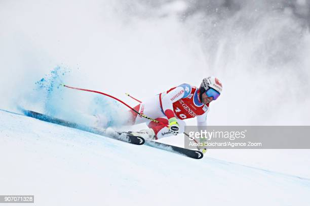 Beat Feuz of Switzerland in action during the Audi FIS Alpine Ski World Cup Men's Super G on January 19 2018 in Kitzbuehel Austria