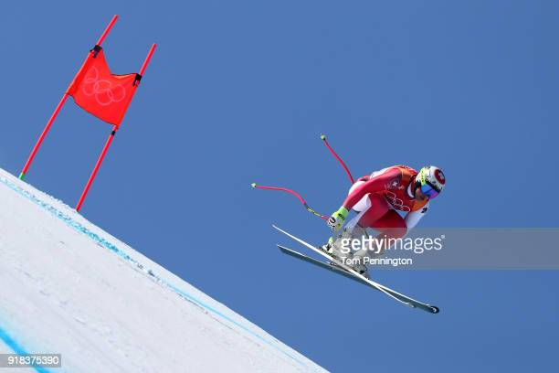 Beat Feuz of Switzerland makes a run during the Men's Downhill on day six of the PyeongChang 2018 Winter Olympic Games at Jeongseon Alpine Centre on...
