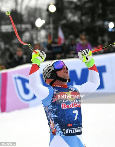 Beat Feuz of Switzerland reacts after competing in the men's downhill event at the FIS Alpine World Cup in Kitzbuehel Austria on January 20 2018 Feuz...