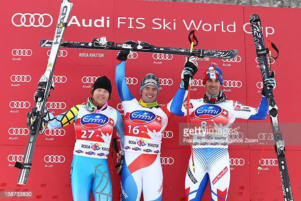 Beat Feuz of Switzerland takes 1st place Benjamin Thomsen of Canada takes the 2nd placeAdrien Theaux of France takes 3rd place during the Audi FIS...