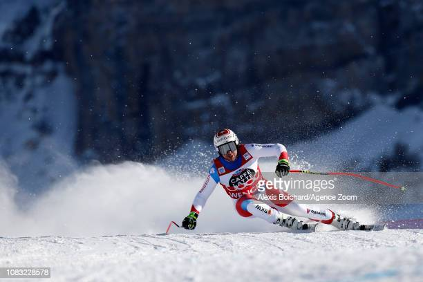 Beat Feuz of Switzerland takes 1st place during the Audi FIS Alpine Ski World Cup Men's Downhill Training on January 16 2019 in Wengen Switzerland