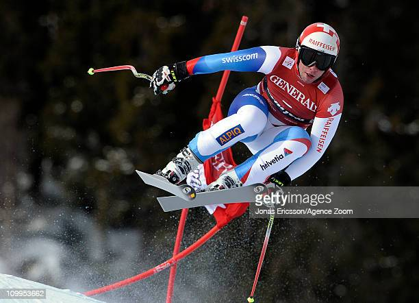 Beat Feuz of Switzerland takes 1st place during the Audi FIS Alpine Ski World Cup Men's Downhill on March 11, 2011 in Kvitfjell, Norway.