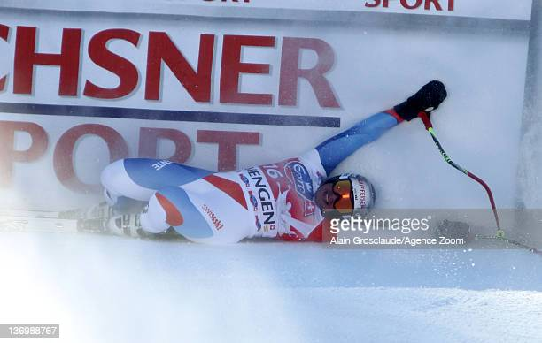 Beat Feuz of Switzerland takes 1st place during the Audi FIS Alpine Ski World Cup Men's Downhill on January 14 2012 in Wengen Switzerland