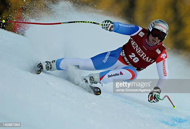 Beat Feuz of Switzerland takes 1st place during the Audi FIS Alpine Ski World Cup Men's SuperG on March 2, 2012 in Kvitfjell, Norway.