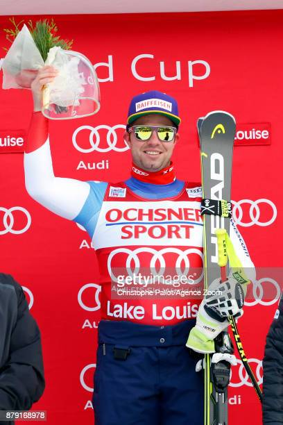 Beat Feuz of Switzerland takes 1st place during the Audi FIS Alpine Ski World Cup Men's Downhill on November 25 2017 in Lake Louise Canada
