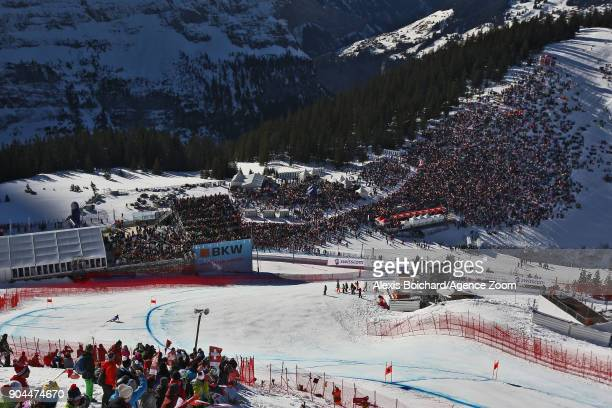 Beat Feuz of Switzerland takes 1st place during the Audi FIS Alpine Ski World Cup Men's Downhill on January 13 2018 in Wengen Switzerland