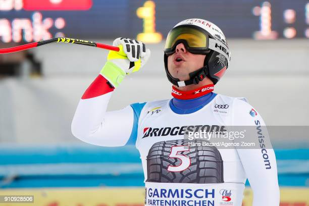 Beat Feuz of Switzerland takes 1st place during the Audi FIS Alpine Ski World Cup Men's Downhill on January 27 2018 in GarmischPartenkirchen Germany