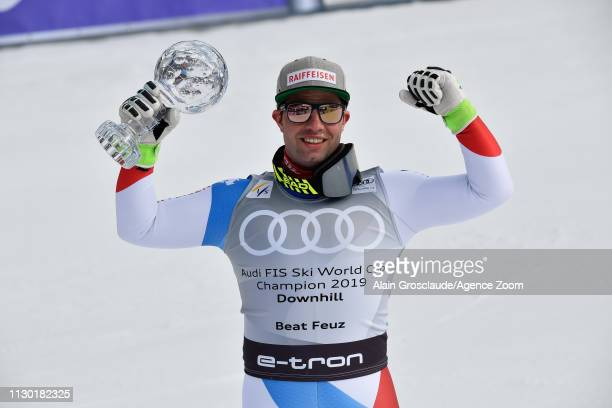 Beat Feuz of Switzerland takes 1st place in the overall standings during the Audi FIS Alpine Ski World Cup Men's and Women's Downhill on March 13...