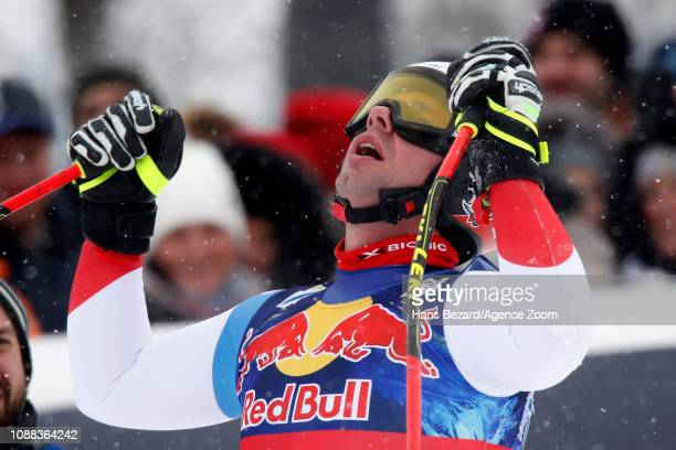 Beat Feuz of Switzerland takes 2nd place during the Audi FIS Alpine Ski World Cup Men's Downhill on January 25 2019 in Kitzbuehel Austria