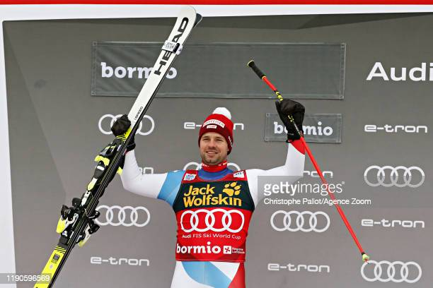 Beat Feuz of Switzerland takes 2nd place during the Audi FIS Alpine Ski World Cup Men's Downhill on December 27, 2019 in Bormio Italy.