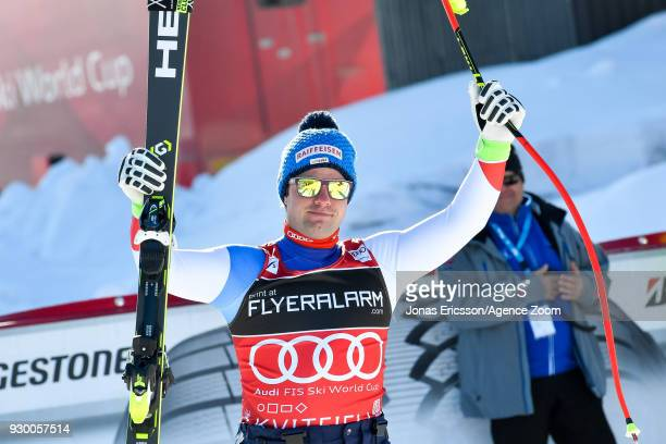 Beat Feuz of Switzerland takes 2nd place during the Audi FIS Alpine Ski World Cup Men's Downhill on March 10 2018 in Kvitfjell Norway