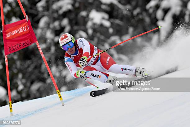 Beat Feuz of Switzerland takes 2nd place during the Audi FIS Alpine Ski World Cup Men's Super G on March 11 2018 in Kvitfjell Norway