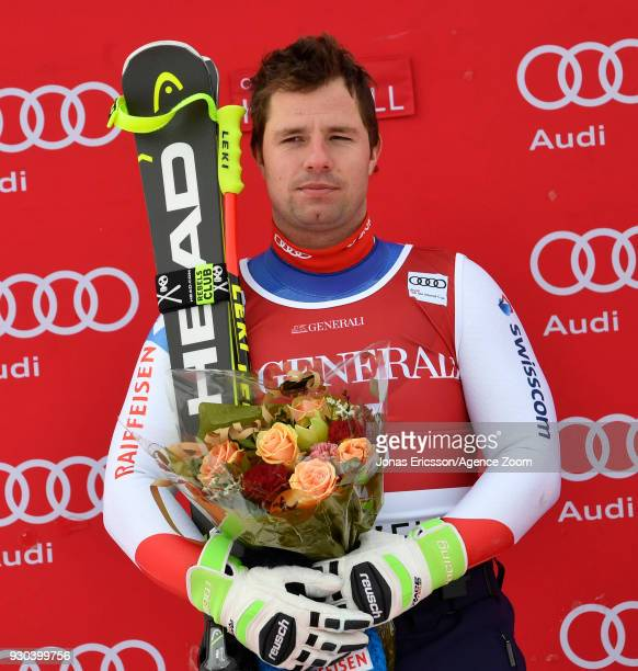 Beat Feuz of Switzerland takes 2nd place during the Audi FIS Alpine Ski World Cup Men's Super G on March 11, 2018 in Kvitfjell, Norway.