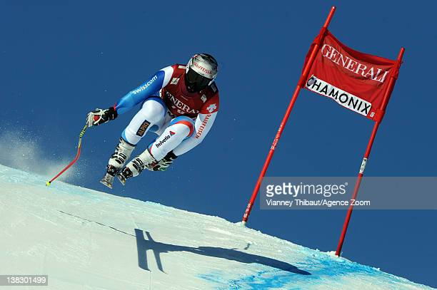 Beat Feuz of Switzerland takes 3rd place during the Audi FIS Alpine Ski World Cup Men's Super Combined on February 5 2012 in Chamonix France