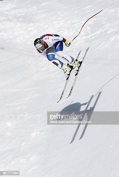 Beat Feuz of Switzerland takes the 2nd place during the Audi FIS Alpine Ski World Cup Men's Downhill on January 18 2015 in Wengen Switzerland