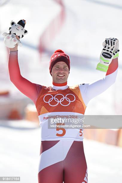 Beat Feuz of Switzerland wins the bronze medal during the Alpine Skiing Men's Downhill at Jeongseon Alpine Centre on February 15 2018 in...