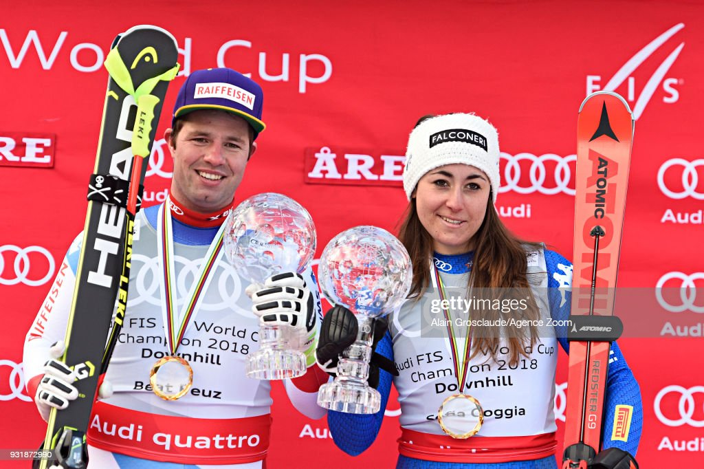 Beat Feuz of Switzerland wins the globe in the men downhill standing, Sofia Goggia of Italy wins the globe in the women downhill standing during the Audi FIS Alpine Ski World Cup Finals Men's and Women's Downhill on March 14, 2018 in Are, Sweden.