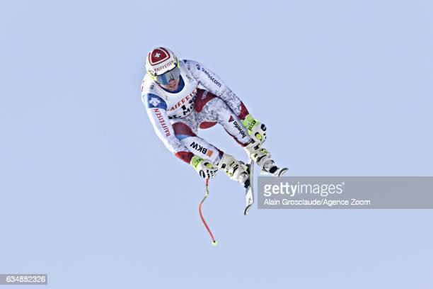 Beat Feuz of Switzerland wins the gold medal during the FIS Alpine Ski World Championships Men's Downhill on February 12 2017 in St Moritz Switzerland