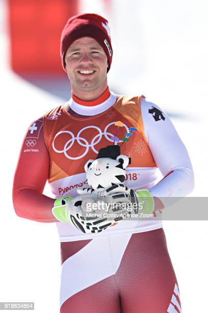 Beat Feuz of Switzerland wins the silver medal during the Alpine Skiing Men's SuperG at Jeongseon Alpine Centre on February 16 2018 in Pyeongchanggun...
