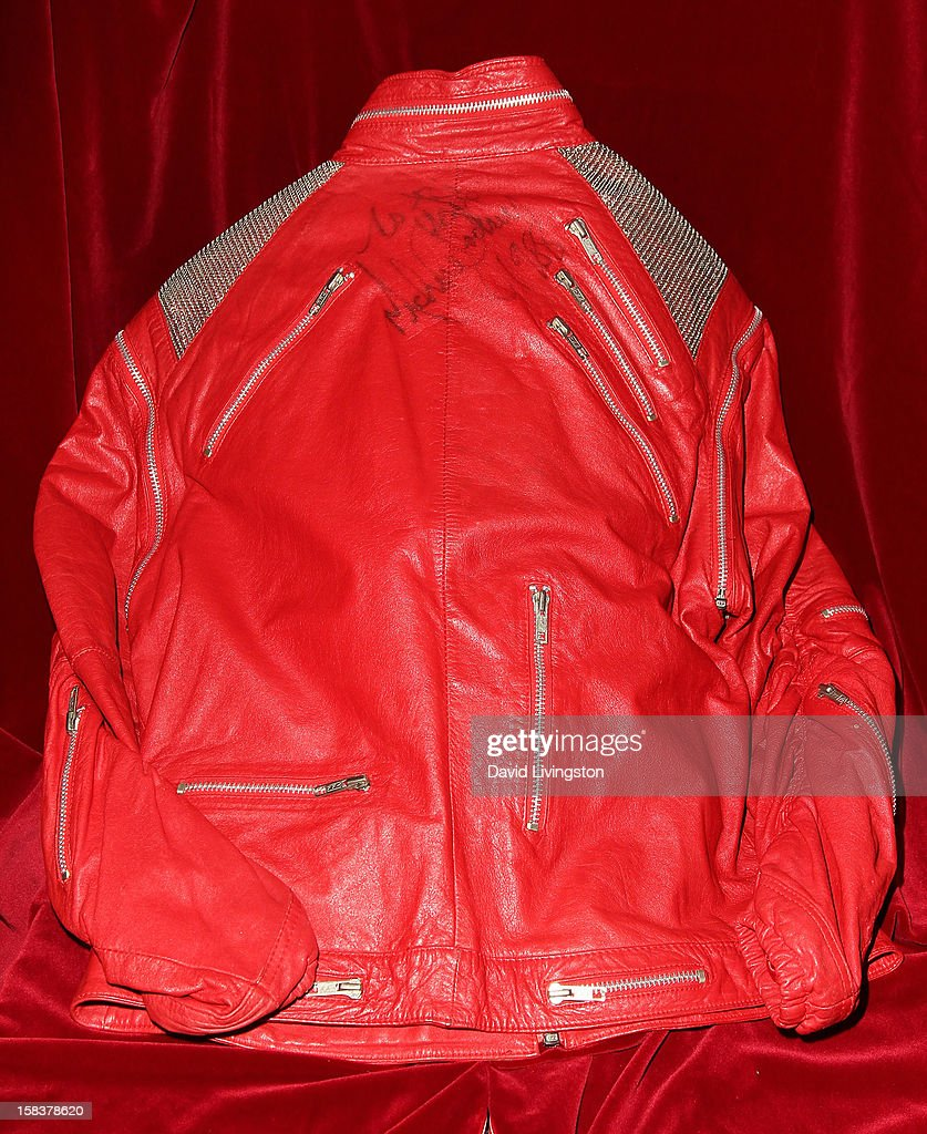 A 'Beat It' jacket worn by recording artist Michael Jackson is displayed at Nate D. Sanders media preview for Michael Jackson's 1980's iconic stage-worn items on December 14, 2012 in Los Angeles, California.