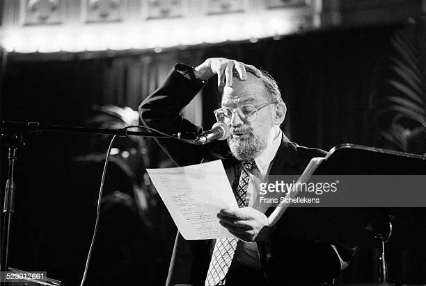 Beat poet Allen Ginsberg performs at the Paradiso on January 10th 1992 in Amsterdam, the Netherlands.