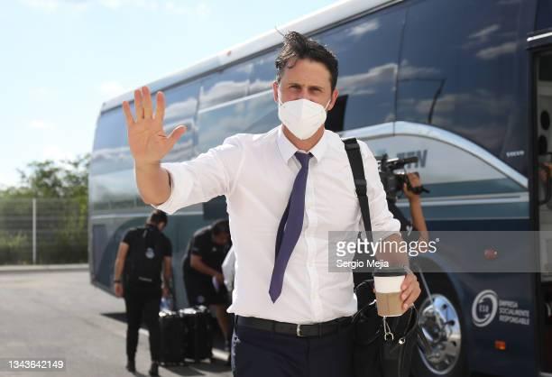 Beñat San Jose coach of Mazatlan arrives to the stadium prior the 11th round match between Mazatlan FC and FC Juarez as part of the Torneo Grita...