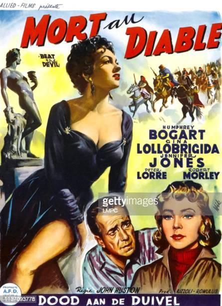 Beat The Devil poster lr Gina Lollobrigida Humphrey Bogart Jennifer Jones on Belgian poster art 1953
