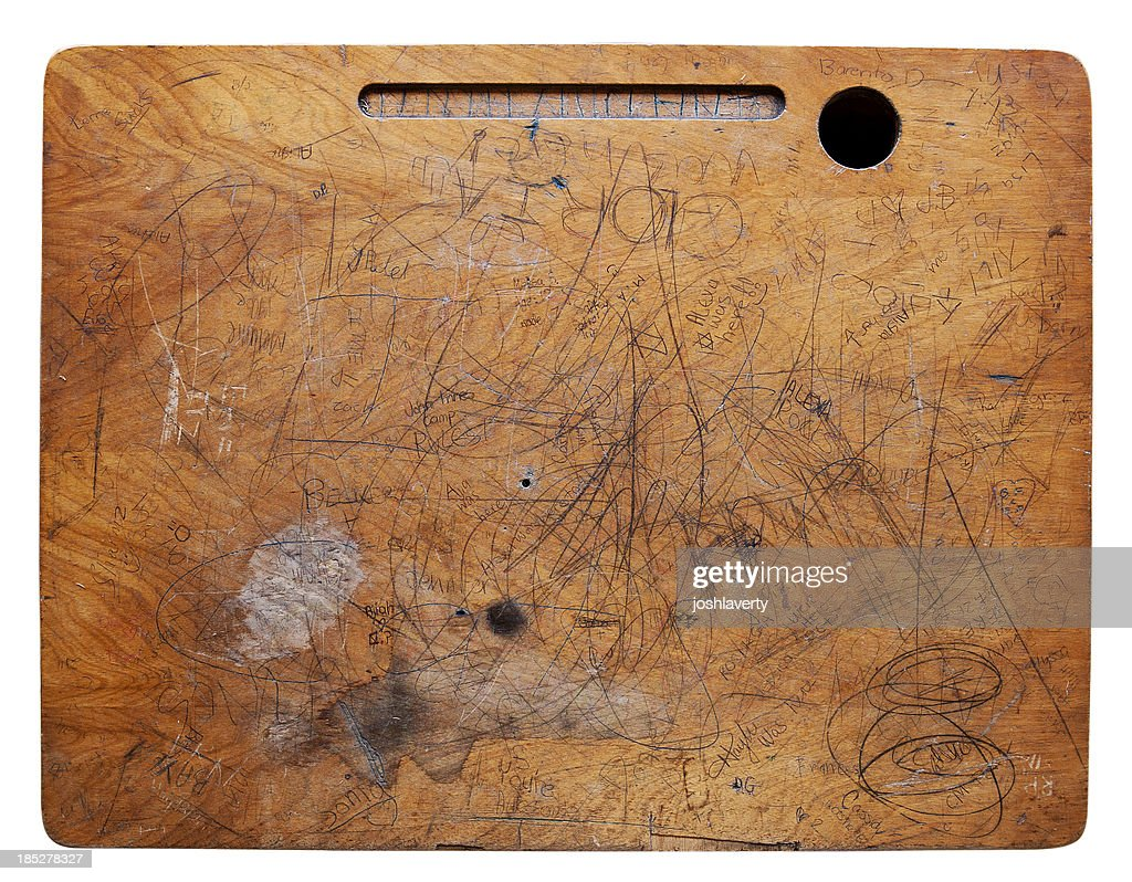 Beat up Desk Surface : Stock Photo