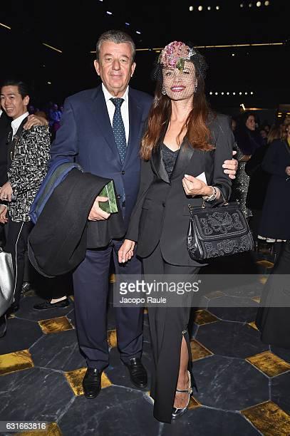 Beata Ben Ammar and Tarek Ben Ammar attend the Dolce Gabbana show during Milan Men's Fashion Week Fall/Winter 2017/18 on January 14 2017 in Milan...