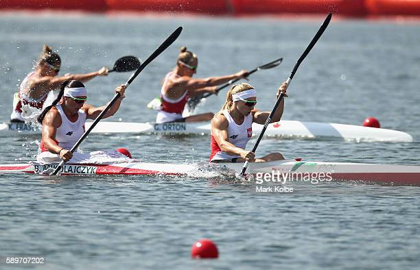 Beata Mikolajczyk and Karolina Naja of Poland compete in the Canoe Sprint Women's Kayak Double 500m Semifinal 2 on Day 10 of the Rio 2016 Olympic...