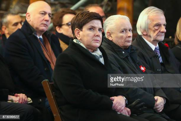 Beata Szydlo Prime Minister of Poland and Jaroslaw Kaczynski a chairman of Law and Justice political party at Wawel Catle during a Mass for Homeland...