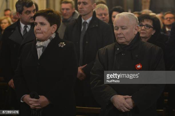 Beata Szydlo Prime Minister of Poland and Jaroslaw Kaczynski Chairman of Law and Justice political party at Wawel Catle during a Mass for Homeland a...