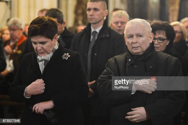 Beata Szydlo Prime Minister of Poland and Jaroslaw Kaczynski Chairman of Law and Justice political party during Krakow's celebrations of the 11th...