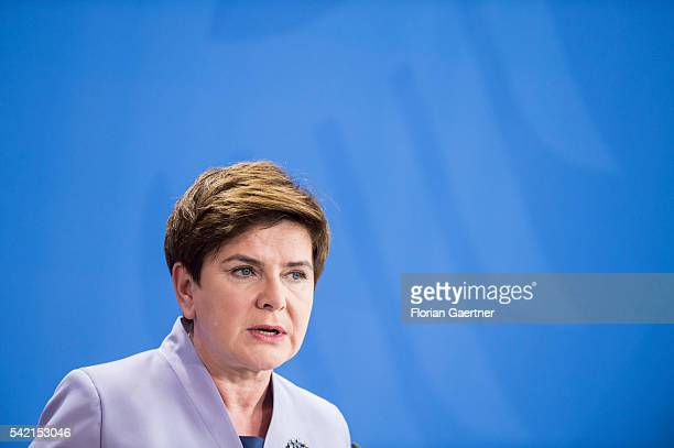 Beata Szydlo Prime Minister of Poland speaks to the media on June 22 2016 in Berlin