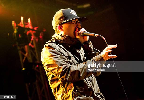 Beatboxer KRNFX performs live in support of Walk Off The Earth during a concert at the Huxleys on March 29 2013 in Berlin Germany
