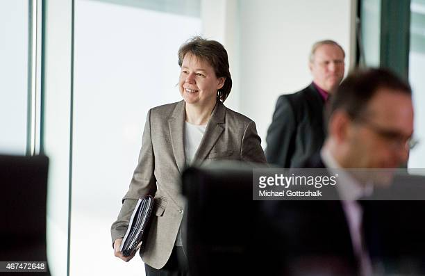 Beate Baumann head of German Chancellor Angela Merkel's office attends the weekly cabinet meeting at the German Chancellery on March 25 2015 in...