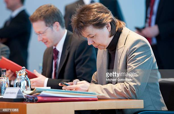Beate Baumann head of German Chancellor Angela Merkels office in German Chancellory prior to the weekly cabinet meeting on November 20 2013 in Berlin...
