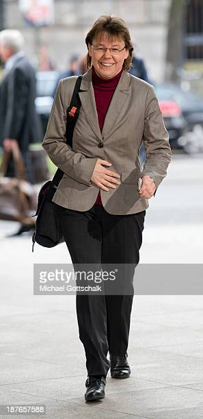 Beate Baumann head of the office of German Chancellor Angela Merkel arrives for negotiations with the German Social Democrats at the Bavarian state...